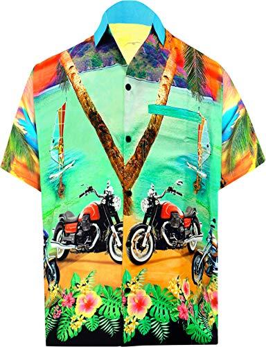 LA LEELA Beach Hemd männer Hawaiihemd Kurzarm Button Down Kragen Fronttasche Beach Strand Hemd Manner Urlaub Casual Herren Aloha 3XL Grün_W552 - Winter Herren 5x Mantel