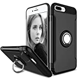 REALIKE® iPhone 8 Plus Cover, Aemotoy Protective Armor Bumper W 360 Degrees Ring Kickstand Shockproof Defender Case For iPhone 8 Plus - iPhone 7 Plus (iPhone 8 Plus, Black)