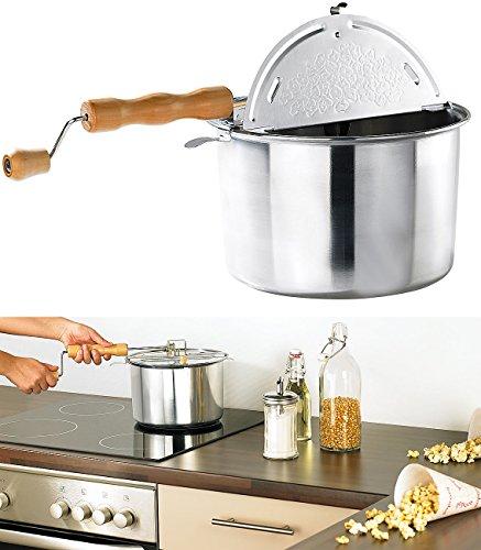 Rosenstein & Söhne Retro Popcorn-Topf mit Kurbel