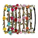 Naler 8 Pcs Guirlande de Fleur Bandeau Bohême Floral Couronne pour Fille Femme Accessoires Cheveux Mariage Fête