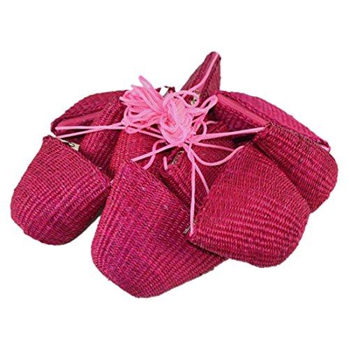 Reißverschluss Stroh (QIYUN.Z Vintage-Stil Stroh Flechten Reißverschluss Schalenförmigen Kleinen Mini Crossbody Umhängetaschen Schultertaschen)