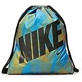 Nike Graphics Young Athlete Drawstring Gymsack Backpack Sport Bookbag (Photo Blue/Atomic Mango Swirl with Black Name Logo)
