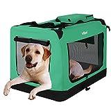 Leopet Faltbare Hundetransportbox (81/58/58cm) in Farb-und Größenwahl für Hunde, Katzen und Kleintiere | abwaschbar | Hundebox, Autobox, Transportbox, Kleintiertasche – Grün