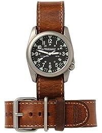 Bertucci h13468Unisex titanio patrimonio marrón cuero banda negro Dial reloj