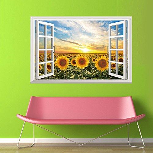 Winhappyhome girasole 3D finta finestra Adesivi da parete per soggiorno o TV, decorazione sfondo, adesivo rimovibile