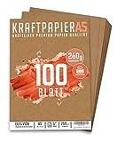 100 Blatt Kraftpapier A5 Set - 260 g - 14,8 x 21 cm - DIN Format - Bastelpapier & Naturkarton Pappe Blätter aus Kraftkarton zum Drucken, Kartonpapier Basteln für Vintage Hochzeit Geschenke Etiketten