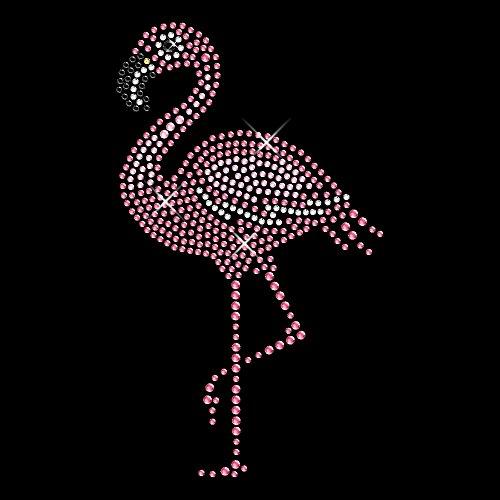 Strassmotiv Glitzer Bügelbild Motiv Flamingo Glitzersteine ca. 8 x 14 cm