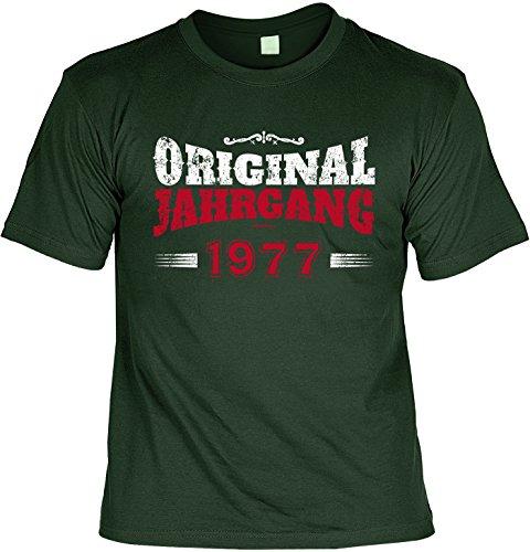 T-Shirt zum Geburtstag: Original Jahrgang 1977 - Tolle Geschenkidee - Baujahr 1977 - Farbe: dunkelgrün Dunkelgrün