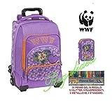 WWF - Mochila con carrito para niña, diseño con corazón, incluye estuche de 3...