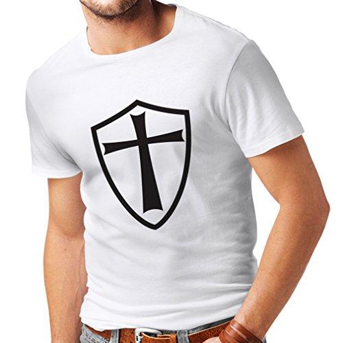 Männer T-Shirt Ritter Templer - Die Templer Schild Christian Ritter Ordnung (XX-Large Weiß Schwarz) (Van Helsing Film Kostüme)