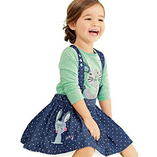 ARAUS-Kinder Mädchen Langarmshirt Denim Strap Rock mit Hase Polka dot gedruckt Top+Kleid Outfits Sommer Baumwolle für Kinder 2-6 Jahre (2-3 Jahre)