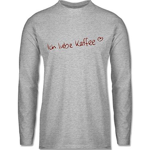 Shirtracer Küche - Ich Liebe Kaffee - Herren Langarmshirt Grau Meliert