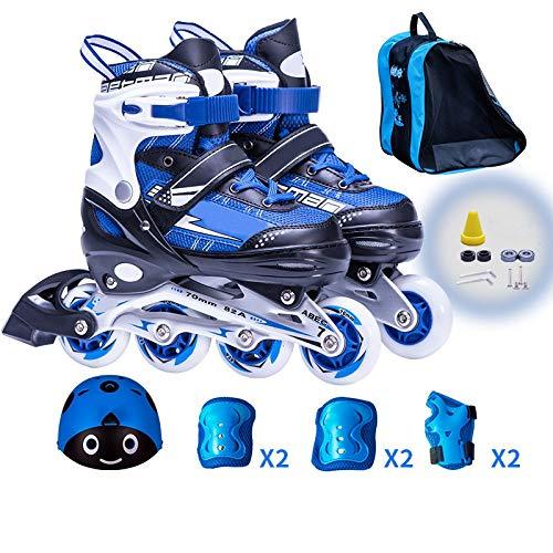 Rollschuhe Kinder Inline Skate 3-12 Jahre Alt Anfänger Rollerblades Einstellbare Jungen Und Mädchen Kinder Kinder Flash Full Set (L,Blue)