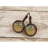 Ohrringe mit Drachenschuppen in grün bronze Mittelalter Schmuck
