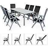 Deuba Sitzgruppe Bern 8+1 | Aluminium | 7-Fach verstellbare Hochlehner | Milchglas Tisch | Silber -...