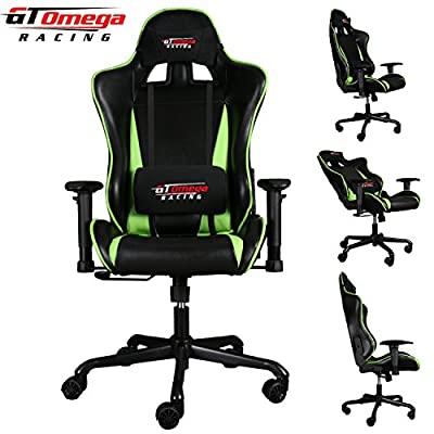 Gt Omega Pro Racing Office Chair Black With Green Leather