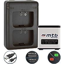Batería + Cargador doble (USB) para cámara deportiva Garmin Virb X / Virb XE Actioncam [980 mAh | 3.8V | Li-Ion] - contiene cable micro USB