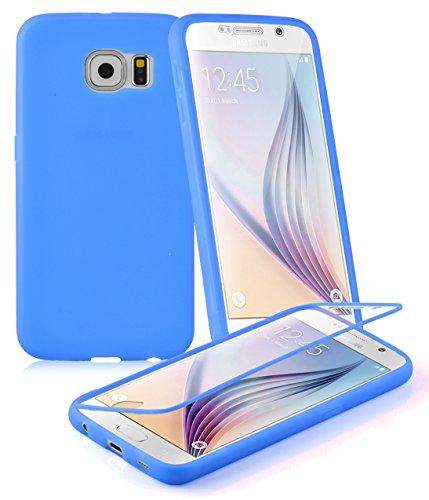 Cadorabo ! TPU Silikon Schutzhülle (Full Body Rundumschutz auch für das Display) für Samsung Galaxy S6 (SM-G920F NICHT für EDGE-Version) in ALKALI-BLAU
