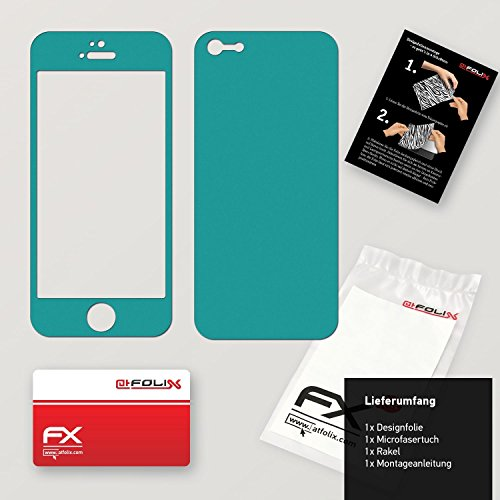 "Skin Apple iPhone 5C ""FX-Carbon-Black"" Designfolie Sticker FX-Soft-Turquoise"
