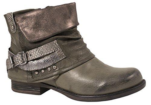 Elara Damen Biker Boots | Metallic Prints Schnallen | Nieten Stiefeletten Lederoptik | Gefüttert F275-Gruen-37