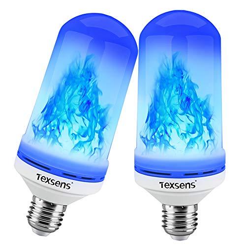 Texsens LED Blue Flame Effect Glühbirnen - 4 Modi Flackernde Feuer Flamme mit Upside-Down-Effekt, simulierte dekorative Lichter Vintage Flaming Lamp für Halloween/Party/Bar-2 Pack