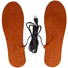Plantillas de Calentamiento Unisexo USB Carga Calentador de Pies (Color : Brown For Men)