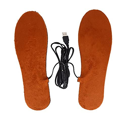 USB Elektro Einlegesohle Heizwärmer Schuhe Stiefel Fuß Warm halten Warm Shoe-Pad Set für Männer / Frauen ( Farbe : Brown For Men (Fuß Warm Einlegesohle)