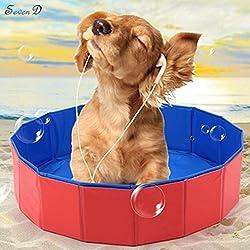 SevenD PVC Portable faltbar Hund/Katze Pet Schwimmbad Badewanne 31,5 inch x 7,87 inch, rot
