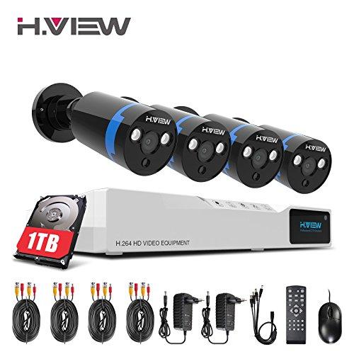 1080P Überwachungskamera System 4 x 1080P Wetterfest HD-Kamera Außen und 8CH DVR mit 1TB Festplatte 1080P Überwachungskamera Set Bewegungsmelder IR Nachtsicht