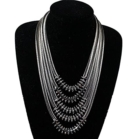 Fashion Personality New Multi - Layer Chain Flowers Short Necklace Exaggerated Clavicle Sweater Chain Shiny