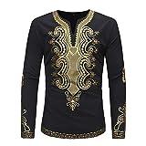 Herren Oberteile,TWBB Winter Schwarz Luxus afrikanisch Gedruckt Pullover Sweatshirt Lange Ärmel Shirt