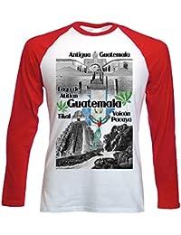 teesquare1st Guatemala Camiseta DE Mangas ROJA LARGAS T-Shirt