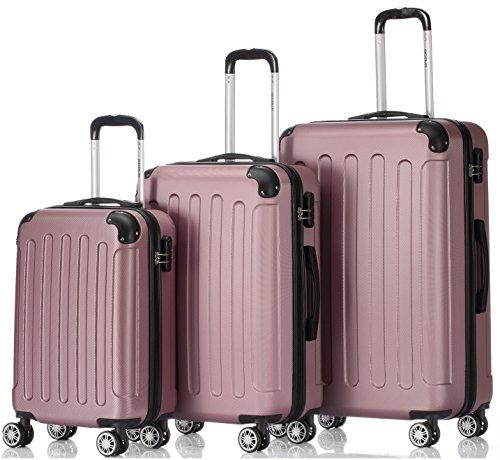BEIBYE Hartschalen-Koffer Trolley Rollkoffer Reisekoffer Handgepäck 4 Rollen (M-L-XL-Set) (Rosa, Set)