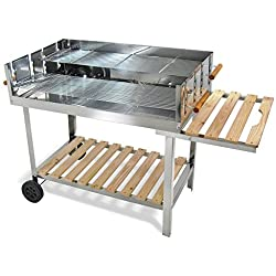 JOM Edelstahl Barbecue Holzkohle Grill Grillwagen BBQ 136x60x93 XXL