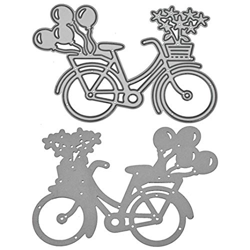 Stanzschablone aus Metall, für Scrapbooking, Papierkarten, Fahrrad, Blumen, Ballon, langlebig, DIY Scrapbooking, Basteln, Prägeschablone - Silber