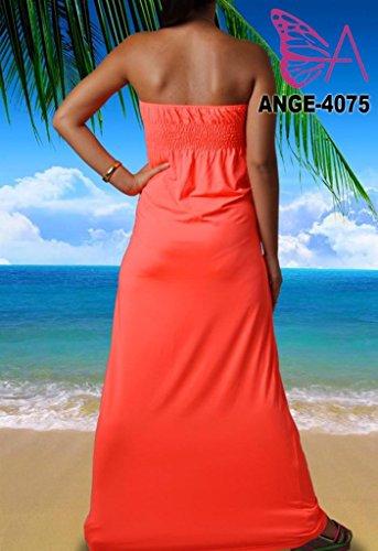 Angela, Femmes Vibrant Clair Bandeau Sans Bretelles Nœud Maxi Vacances Été Couleur Unie Robe Couleur Pêche