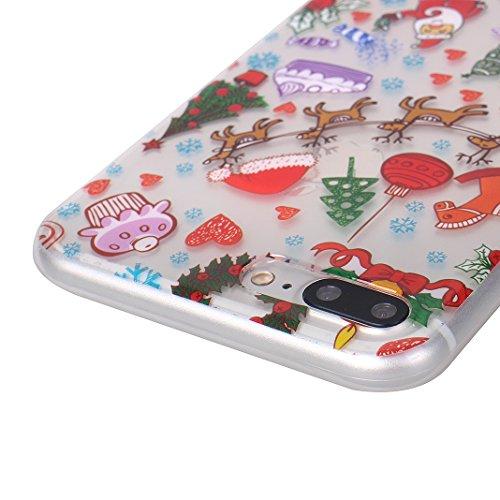 Coque Transparent iPhone 7 Plus Case,Etui Housse Apple iPhone 8 Plus Coque rigide transparente Souple Cas Rosa Schleife®Silicone Gel Etui de Protection Portable Téléphone Pochette arriere Bumper Coque 2