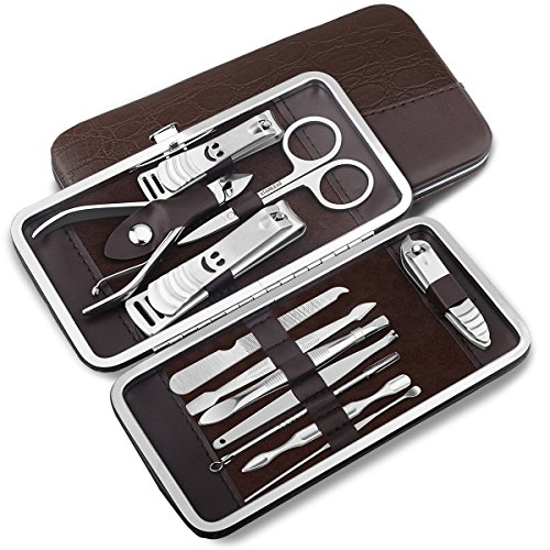 Kutop Nail Clippers,12pcs of Stainless Steel Grooming Nail Scissors Personal Care Manicure Pedicure Ear Set Kit for Man and Woman