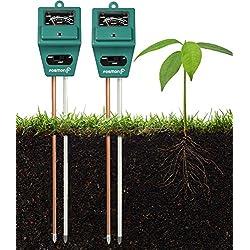 Bodenprüfgerät [Soil Testing Meter], [2 Stück] Fosmon 3-in-1-pH-Meter, Bodensensor für Feuchtigkeits-, Licht- und pH-Level-Messung für den Anbau von Garten, Rasen, Bauernhof, Pflanzen, Blumen, Gemüse, Kräuter & mehr