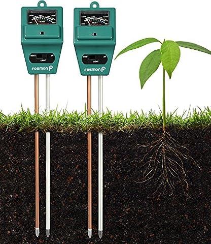 Analyseur de sol, [Paquet de 2] Fosmon 3-en-1 pH Meter / sonde de sol de mesure de l'humidité, de la lumière et du pH pour la culture de votre jardin, pelouse, ferme, plantes, fleurs, légumes, herbes et plus