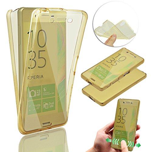 Sony Xperia X Coque de Protection Etui Transparent Antidérapant Pour Sony Xperia X Etui Protection Dorsale Étui,Vandot Sony Xperia X Slim Invisible Housse Cover Case en TPU Gel Silicone Hull Shell-Bla Transparent-Or