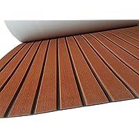 SOOMJ® Eva - Alfombrilla de madera de teca sintética, espuma EVA, antideslizante, para suelo de barco, yate, suelo sintético de teca (marrón con líneas negras)