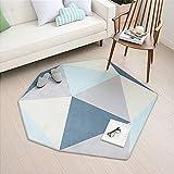 Tapis de salon Kooco, style scandinave moderne personnalisé, forme géométrique, simple, tapis de sol, descente de lit, pour table basse, sofa, Polyester, bleu, 110CMX120CM