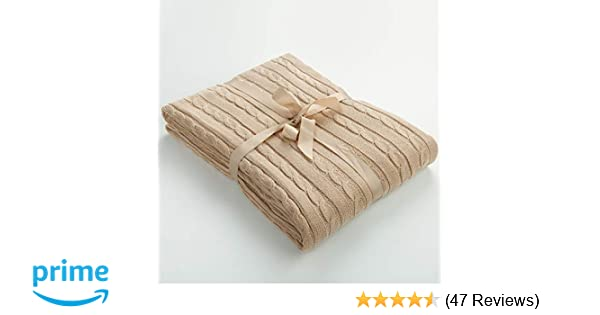 NTBAY Cotton Cable Knit Throw Super Soft Warm Multi Color bed Blanket 130 x 170 cm White