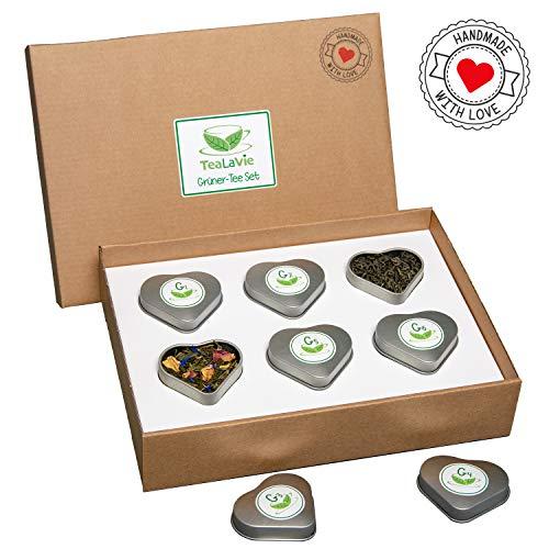 TEALAVIE - 6er Tee-Geschenke-Set - Grüner Tee lose   edle Herz-Teedose für Teeliebhaber   ideal für Dankeschön Geschenke   45g loser Grüntee Mischung Mix
