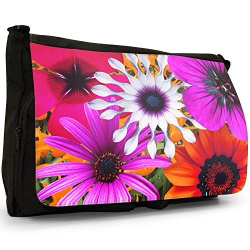 Fancy A Bag Borsa Messenger nero Abstract Red Flowers Large Multi Coloured Flowers Orange Purple