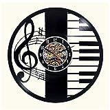 Zhiyi - Reloj de Pared con diseño de Notas Musicales y Piano-Clave de Vinilo, Ideal como Regalo para Aficionados a la música