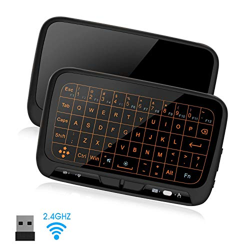SZILBZ Mini Tastatur Wireless mit Touchpad, Smart TV Tastatur Fernbedienung, 2.4 GHz Kabellose Backlit QWERTZ Mini Tastatur Beleuchtet für Android TV Box, Projector, IPTV, HTPC, PC, Laptop, Linux