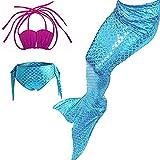 Das Beste Mädchen Meerjungfrau Bikini Kostüm Schwimmanzug Badeanzüge Tankini Muschelbikini Bademode Badeanzüge Meerjungfrauenschwanz Schwimmen Baden, 150, Farbe: heiß Rosa+Blau