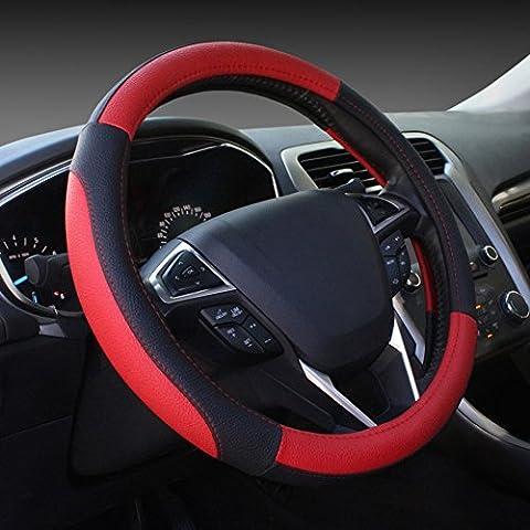 COFIT Cubierta del Volante de Cuero del Microfibra lo de Negro y Rojo 35-39cm
